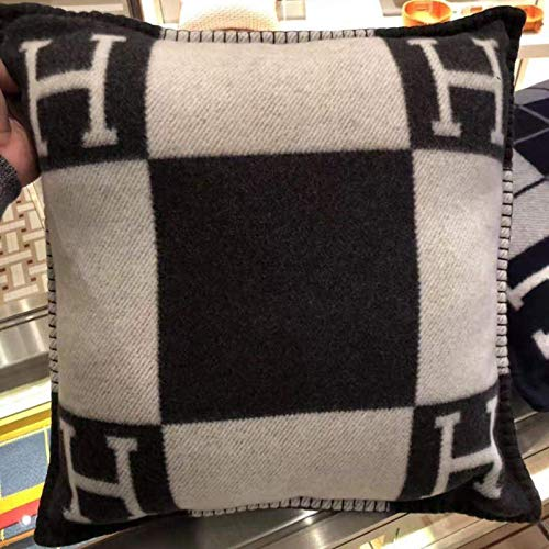 Funda de almohada tejida jacquard, almohada, cojín manta, almohada de lana para sofá, funda de alm