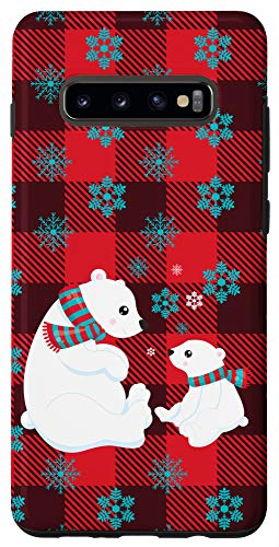 Galaxy S10+ Christmas Plaid Pattern Polar Bears Snowflakes Holiday Gift Case