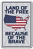 Hongxin® Land of The Free Patriotic Military Navy Army Airce Troops retrò Targa in Metallo Vintage Wall placca Poster per Parete Decor Targa Metallo per Cucina di casa Garage Bar Pub Regalo 20X30CM