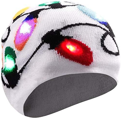 Aomeiqi Cappellino for le feste, Cappello Led lampeggiante cappello sciocco cappello con 3 modalità lampeggiante, Luce up della novità buffo cappello Beanie Cap Hat for Halloween, Natale, Party, Cicli