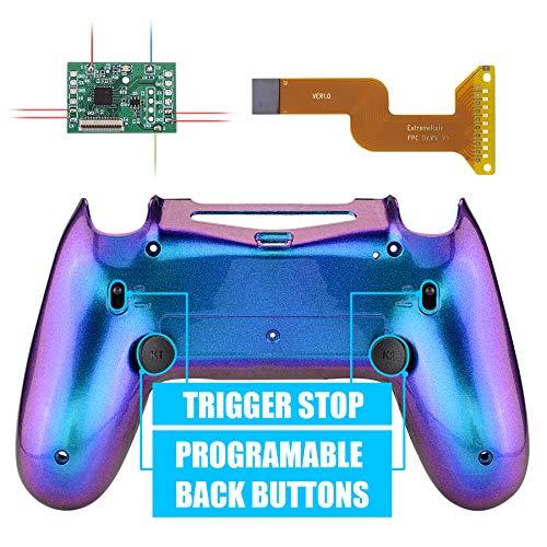eXtremeRate DAWN2.0 FlashShot Trigger Stop Remap Kit für PS4 CUH-ZCT2 Controller,Hülle Case Gehäuse&Mod-Chip&2 Rücktasten&2 Trigger Lock für Playstation 4 Controller JDM 040/050/055(Lila Blau)