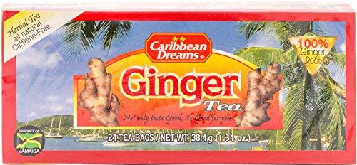 Caribbean Dreams Ginger Tea, 24 Tea Bags, 100% Ginger Root, Herbal, Natural, Caffeine Free Ginger Tea From Jamaica