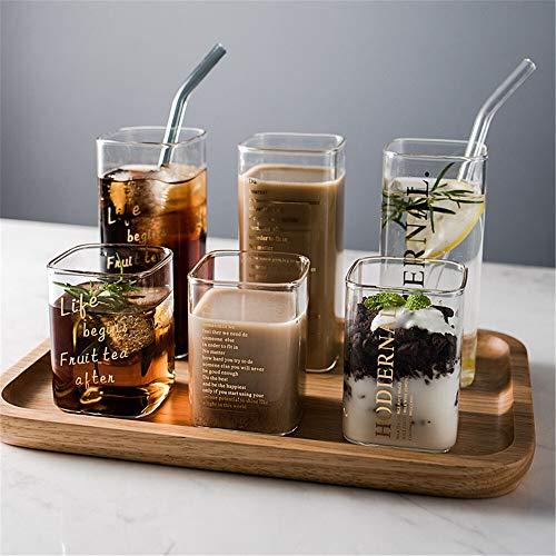Taza de cristal cuadrada creativa de cristal con impresión de letras doradas, taza de café para desayuno, leche y café, cristal transparente, resistente al calor, para el hogar (color: amarillo paja)