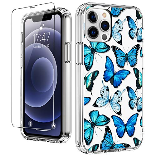 """LUHOURI for iPhone 12 Pro Max Case with Screen Protector,Blue Butterflies Floral Flower Designs on Clear Bumper Cover for Women Girls,Slim Fit Protective Phone Case for iPhone 12 Pro Max 6.7"""""""