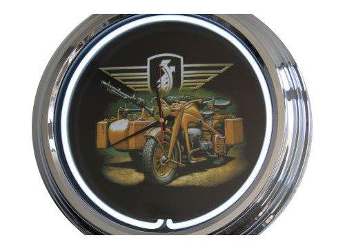 Neon Uhr Wehrmacht Motorrad Wanduhr Deko-Uhr Leuchtuhr USA 50's Style Retro Uhr Neonuhr