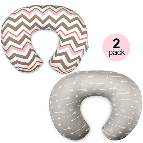 cosmoplus Stretchy Nursing Pillow Covers-2 Pack Nursing Pillow Slipcovers for Breastfeeding Moms,Ultra Soft Snug Fits On Infant Nursing Pillow,Arrow Chevron