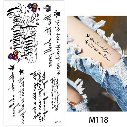 adgkitb 4 Piezas Pulsera Cadena Tatuaje Temporal Etiqueta inglés Letra Pluma patrón Pecho Arte calcomanía M118 19x9 cm