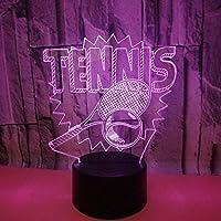 テニスラケットカラフルな3DライトLEDアクリル3Dテーブルランプタッチ3Dナイトライト