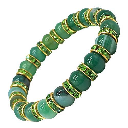 Helena Rose Ladies Spiritual Bracelet for Women- Gorgeous Green Agate Gemstones & Sparkling Green Rhinestone Crystals - Woman's Spiritual Balance Bracelet - Plus Jewellery Gift Box