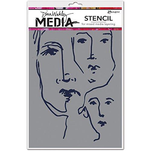 Ranger Dina Wakley Media Pochoir Motif visages griffonnés Transparent