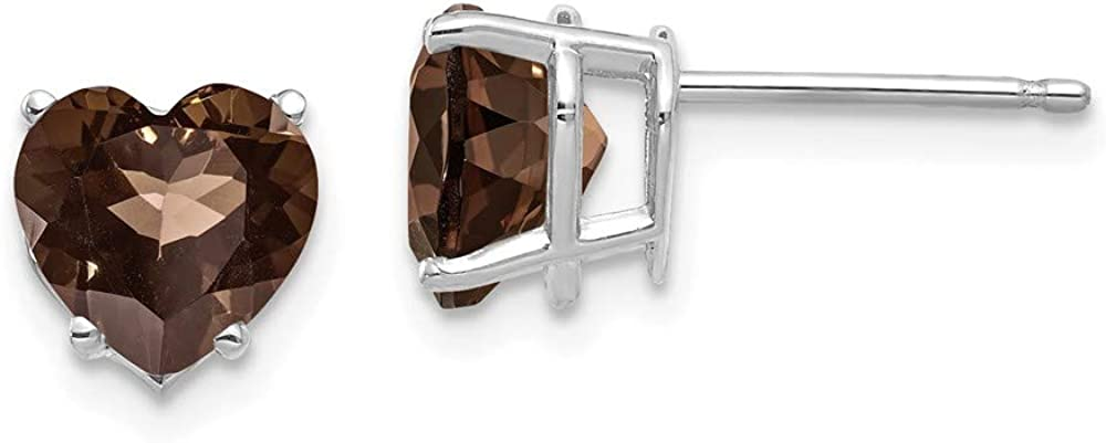 Solid 14k White Gold 7mm Heart Chocolate Brown Smoky Quartz Studs Earrings 8mm
