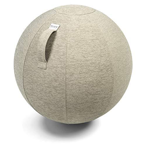 VLUV STOV Stoff-Sitzball, ergonomisches Sitzmöbel für Büro und Zuhause, Farbe: Kiesel (beige), Ø 60cm - 65cm, hochwertiger Möbelbezugsstoff, robust und formstabil, mit Tragegriff