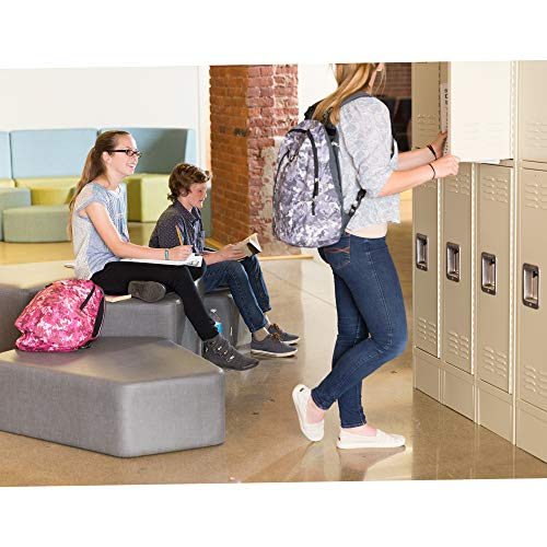 """Learniture Deluxe Three-Wide Double-Tier School Lockers, 12"""" W x 12"""" D, Ready to Assemble, Tan, LNT-NOR1002P-SO"""