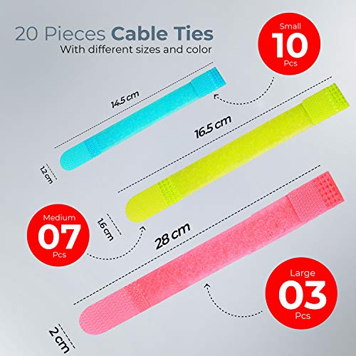 Avantree Pack of 20 Reusable Cord Organizer Keeper Holder, Fastening Velcro Cable Ties Straps for Earbud Headphones Phones Electronics Electrical Computer PC Wire Wrap Management, Assorted 3 Size and 5 Color