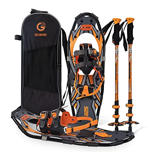 G2 30 Inches Orange Light Weight Snowshoes for Women Men Youth, Set with Tote Bag, Special EVA Padded Ratchet Binding, Heel Lift, Toe Box