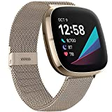ZWGKKYGYH Bands Compatible with Fitbit Sense and Versa 3 Smartwatch Women Men, Stainless Steel Metal Mesh Magnetic Band Replacement for Sense/Versa 3, Small Champagne