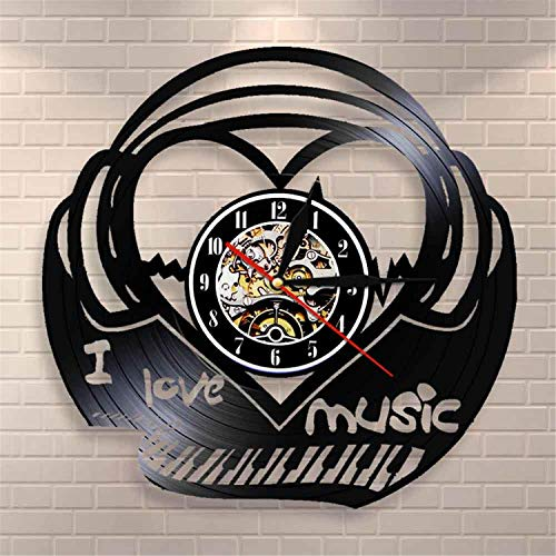 LBJZD Reloj de Pared Amo La Música Piano Teclado Reloj De Pared Música Latido del Corazón Disco De Vinilo Reloj De Pared Sonido Onda Música Canción Latido del Corazón Voz Reloj Retro Sin Luz Led