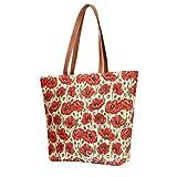 Signare Tapestry Shoulder Bag Tote Bag for Women with Poppy Flower Design (SHOU-POP)