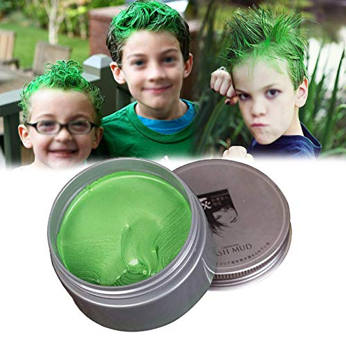 Temporäre Haarfarbe Farbstoff Non-permanent DIY Haarfarbe Wachs Schlamm Washable Farbiges Haarfarbe Creme Für Party Cosplay Halloween (grün)