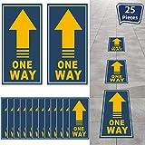 25 Piezas Señal Calcomanía de Suelo One Way Pegatina de Flecha Direccional Pegatina de Piso de Seguridad de Distancia Social Marcador Señal de Mantener Distancia One Way (Azul Oscuro, Amarillo)