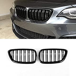 F22 Grille, ABS Replacement Front Kidney Grills for 2 Series F22 F23 F87 M2 2014-2020 (Gloss Black Double Slats, 2-pc Set)