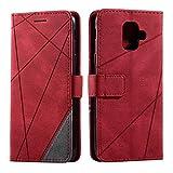 Galaxy A6 2018 Case, SONWO Premium Leather Flip Wallet Case