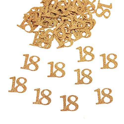 Oblique Unique® 50x Konfetti Zahl 18 in Roségold mit Glitzereffekt für Geburtstag Jubiläum Tisch Deko