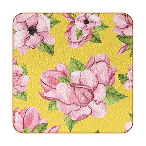 Bennigiry Juego de 6 posavasos de flores de Magnolia dibujados a mano para bebidas, de cuero, para tazas, paquete de 6