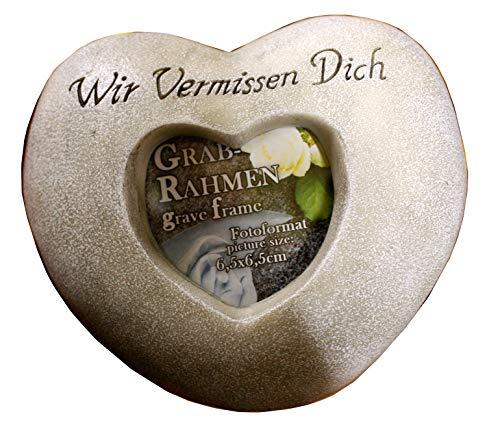 IKO Import Grabschmuck Herz mit Aufschrift und Foto Fenster Trauerstein