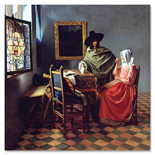 Giallobus - Quadro - Jan Vermeer - Bicchiere di Vino - Plexiglass - 100x100 - Pronto da Appendere - Quadri Moderni per la casa in Tela o plexiglass