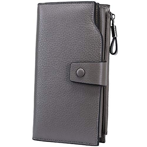 Itslife Women's RFID Blocking Large Capacity Luxury Wax Genuine Leather Cluth Wallet Card Holder Ladies Purse (Natural Gray RFID BLOCKING)