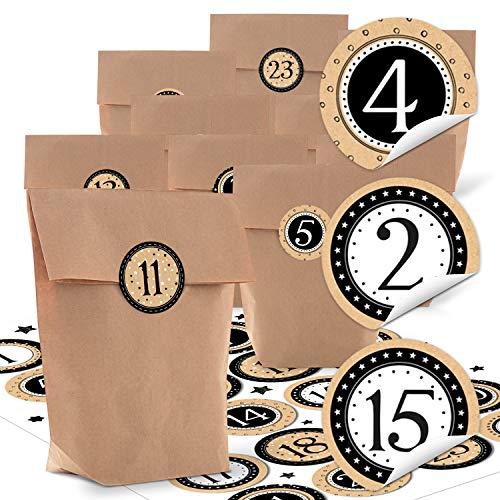 24 kleine natürliche braune Papier-Tüten natur Kraftpapier 14 x 22 x 5,6 cm + 1 bis 24 Zahlen weihnachtliche Aufkleber STERNE beige schwarz weiß basteln befüllen Adventskalender bio Beutel SET