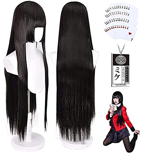 IMEYLE Wig(Necklace And Poker Cards)Natural Black Wig Cosplay For Women Long Straight Cosplay Wig With Synthetic Bangs For Costume