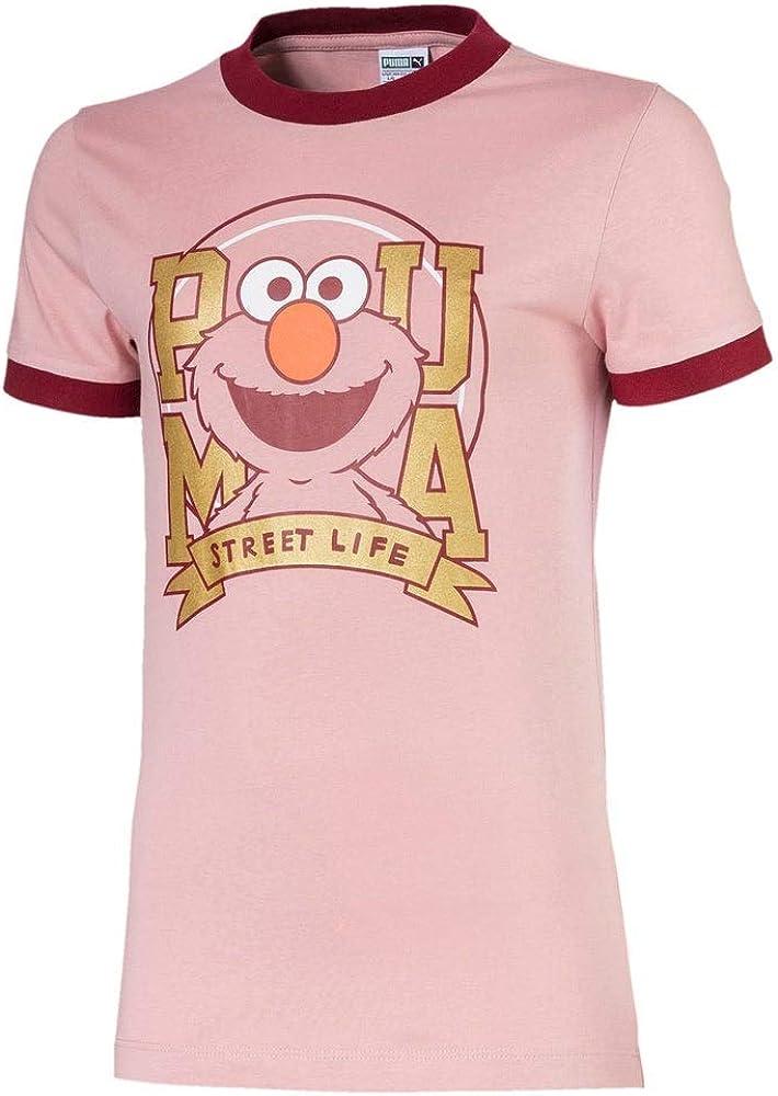 PUMA Kids Girls Sesame Street T-Shirt Top - Pink