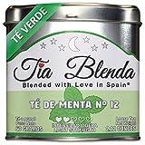 TIA BLENDA - TÉ DE MENTA Nº 12 (60 g) - Refrescante TÉ VERDE GUNPOWDER Chino Premium con MENTA. Té en hojas. 40 - 50 tazas. Presentación premium en lata. Loose Tea Caddy.