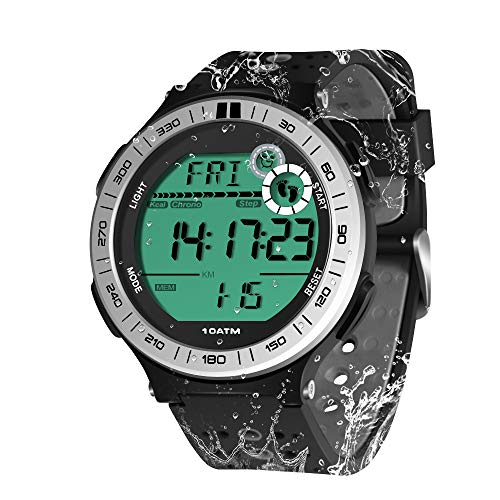 100m Submarino Reloj de Pulsera Podómetro para Hombres Niños Reloj Natación Impermeable con Función de Cronómetro de Vuelta y Reloj Despertador, Formato de 12/24 Horas Seleccionable