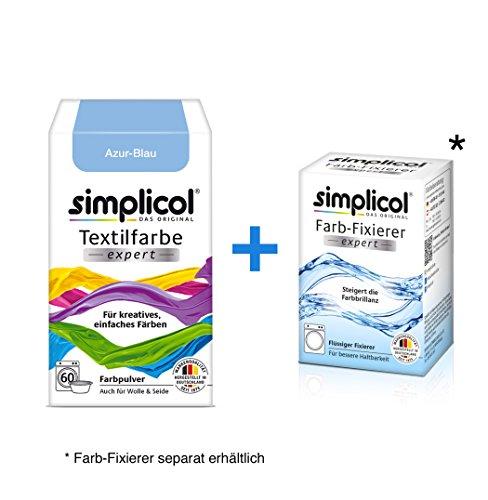 Simplicol Textilfarbe expert + Farbfixierer Kombipack, Azur-Blau 1710: Farbe für Waschmaschine oder manuelles Färben