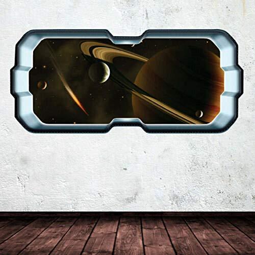 3DLookWandtattoo Full color space planet window Galaxy stars earth moon wall art sticker Wandtattoo