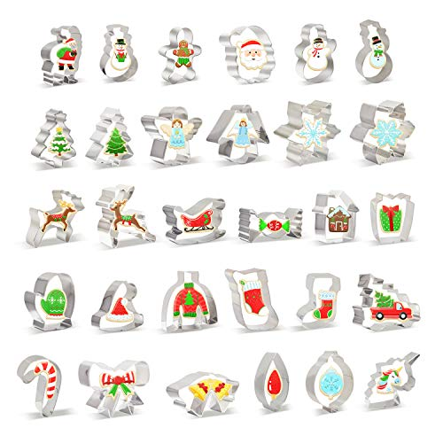 30 PCS Christmas Cookie Cutter Set Christmas Tree and More Biscuit Fondant Cutters Stainless Steel for Holiday Cookies, Christmas Party and Baking Gift
