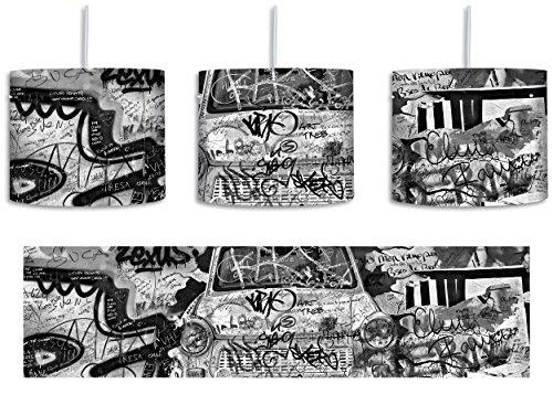 Monocrome, Trabant durch die Wand, Trabi DDR Kult inkl. Lampenfassung E27, Lampe mit Motivdruck, Deckenlampe, Hängelampe, Pendelleuchte - Durchmesser 30cm - Dekoration mit Licht