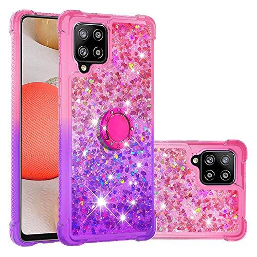 Carcasa para Samsung Galaxy A42 5G, Galaxy A42 con hebilla de anillo con purpurina de cristal líquido de arena movediza, suave TPU parachoques de silicona protectora a prueba de golpes-3