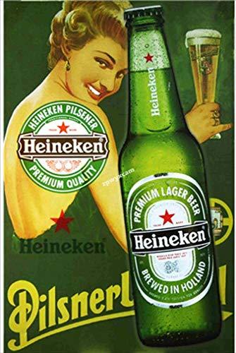 Heine-ken - Cartel de cerveza de estilo vintage, personalizable, pintura decorativa, pintura de estaño, color resistente, placa de metal, regalo, decoración de pared, arte hecho antiguo