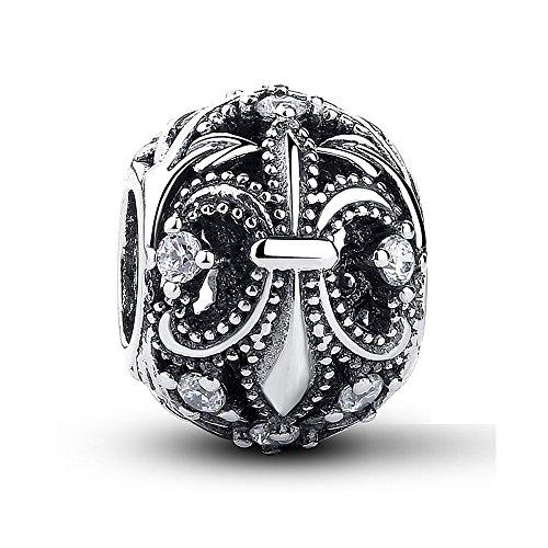 NINGAN Authentische Fleur-De-Lis, klare Zirkonia, 925er Sterlingsilber, Charm-Anhänger für und andere europäische Charm-Armbänder