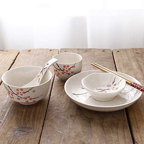 Bol Plats chinois et japonais, baguettes, assiettes, vaisselle en céramique, restaurant de l'hôtel, ensemble de table, 6 pièces, vaisselle individuelle, 4 couleurs (Couleur : Red plum)