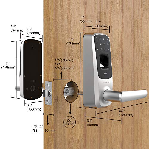 Ultraloq UL3 BT Bluetooth Enabled Fingerprint and Touchscreen Smart Lock (Satin Nickel) | 5-in-1 Keyles   s Entry | Secure Finger ID | Anti-peep Code | Works with iOS and Android | Match Home Aesthetics