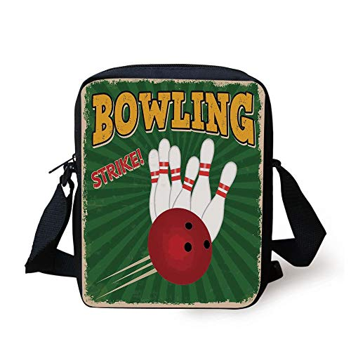 CBBBB Vintage Decor,Bowling Balls and Pins Design Western Sport Hobby Leisure Winner Artsy Art Print,Multi Print Kids Crossbody Messenger Bag Purse