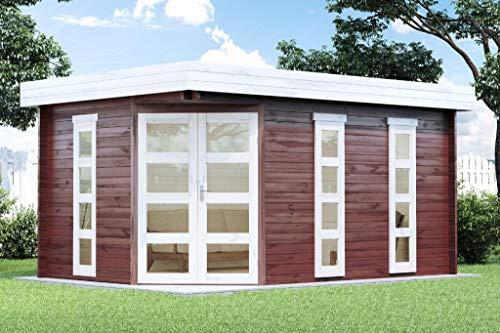 Alpholz 5-Eck Gartenhaus Lindau-40 aus Massiv-Holz | Gerätehaus mit 40 mm Wandstärke | Garten Holzhaus inklusive Montagematerial | Geräteschuppen Größe: 442 x 322 cm | Flachdach
