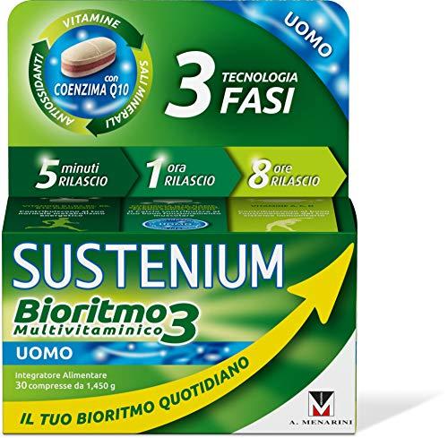 Sustenium Bioritmo3 Uomo - Integratore Multivitaminico Con Antiossidanti E Sali Minerali. Più Di 70 Benefici Per Il Tuo Benessere Fisico E Mentale. 30 Compresse Da 1,45 Gr. - 44 g
