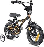 Prometheus kids bike 12 inch boys and girls 3 years and above kids bicycle BMX model 2021 in black matt orange