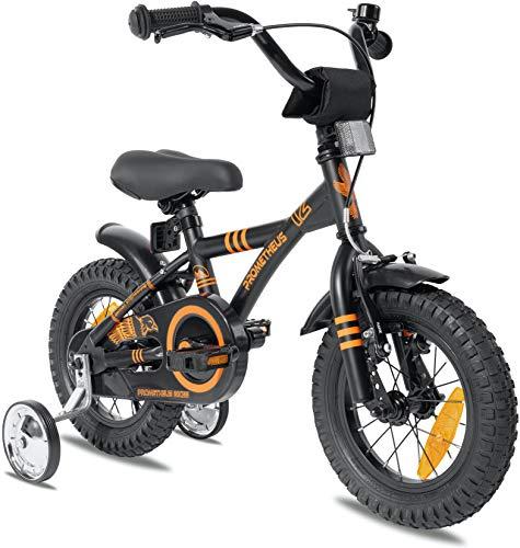 Prometheus Kinderfahrrad 12 Zoll Jungen mit Stützräder ab 3 Jahre Mädchen Rücktritt 12zoll BMX Modell 2021 in Schwarz Matt Orange